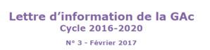 Lettre d'information de la GAc Cycle 2016-2020 N° 3 - Février 2017
